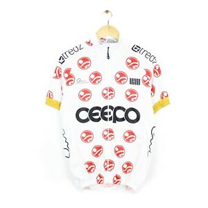 Gear Club Ceepo Mens Full Zip White Short Sleeve Cycling Jersey - Size XL Fitted