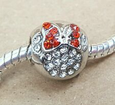1PC Disney Minnie Mouse Head Double Sided CZ Crystal RED Bow European Bead Charm