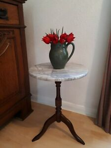 Small Marble Top Wine/side Table on Mahogany Pedestal.