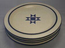 Vintage Fabrik Pottery American Quilt Star 4 Dinner Plates James McBride EUC