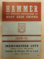1970/71 WEST HAM UNITED v MANCHESTER CITY - 20th February