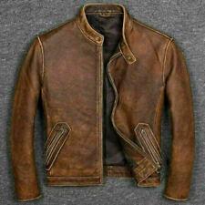 Men's Tan Brown Biker Cafe Racer Vintage Motorcycle Distressed Leather Jacket