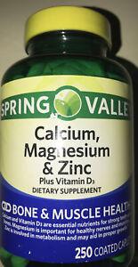 Spring Valley Calcium Magnesium &zinc PlusD3 250 Coated caplets Exp10/23