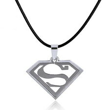 Mens Unisex Stainless Steel Leather Necklace Pendant Superman L65