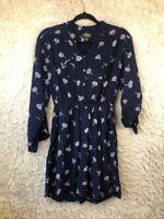 Angie Womens Shirt Dress Blue Floral Pockets Elastic Waist Buttons Long Sleeve L