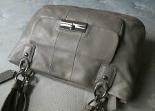 COACH Kristin Taupe Gray Leather EW Zip Carryall Tote Shoulder Bag Purse NICE!