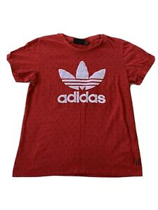 Ladies Adidas Originals Pharrell Williams Red Embroidered T-Shirt Size Small