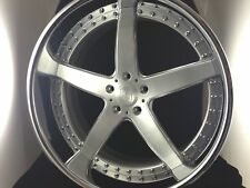 20 Inch 5 Spoke 3pc Wheels Brushed With Clear Center,Chromed Outer Lip!