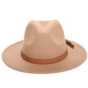 Young Cute Child Boy Gril Medium Brim Wool Felt Panama Hat Warm Jazz Fedora Cap