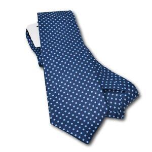 """NWT $295 Kiton Printed Twill Silk Blue Polka Dot Tie 3.25"""" Width Multi-Fold"""