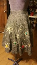 Vintage 1950's Atomic Sputnik Grey Wool Poodle Skirt XS Sm