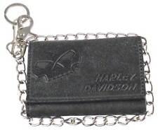 Harley-Davidson Mens Skull Graphite TriFold Medium Leather Wallet UN4618L-GRYBLK