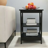 Modern Sofa 2 Tier Side Table Rustic End Table Nightstand Table Solid Wood Legs