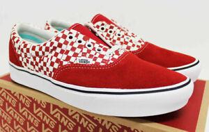 NIB VANS Men's Comfycush Era Tear Checkerboard Red Suede Sz 9 Sneakers Shoes