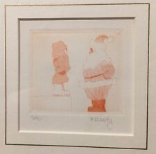 UNIQUE ARTIST SIGNED M. KENNEDY 16/40 ETCHING WOOD BLOCK LIMITED PRINT RED SANTA