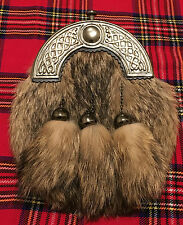 CC Full Dress Kilt Sporran Fox Fur Celtic Cantle Antique/Scottish Kilt Sporrans