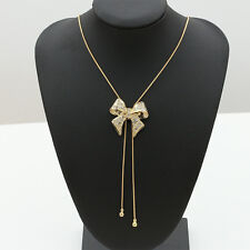 Trendy Women Crystal Bowknot Gold Plated Statement Pendant Long Chain Necklaces