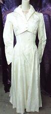40s Brocade Taffeta Wedding Gown w/ Jkt w/ Glass Buttons 34x28