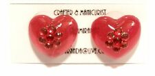 Rhinestone Heart Collection Earrings ( Red )