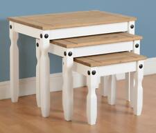 CORONA Nest of Tables in White & Distressed Waxed Pine - Next Day Delivery