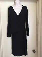 TALBOTS black long sleeve stretch wrap dress Size 12 EUC
