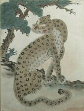 Korean Minhwa of Tiger w/ Hare under Tree Ink & Watercolor on silk ca. 19th c