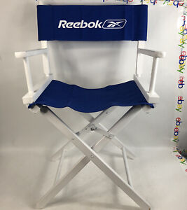 """Reebok Directors Chair White Wood Blue Folds Up 32.5"""" Tall Advertising Man Cave"""