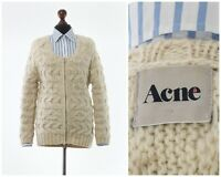 Women's ACNE Wool Cable Knitted Knit Full Zip Cardigan Sweater Beige Size XS
