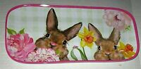 "EASTER Melamine Serving Tray 15"" x 7"" SPRING BUNNIES"