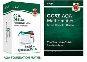 GCSE AQA MATHS FOUNDATION QUESTION CARDS FLASHCARDS & REVISION GUIDE BUNDLE
