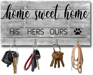 BEROSS Key Holder for Wall Entryway Rustic Wall Mount Key Hangers with 4 Hooks H