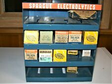 Vtg. Sprague Electronics Advertising Metal Display Co. with Nos Can Capacitors
