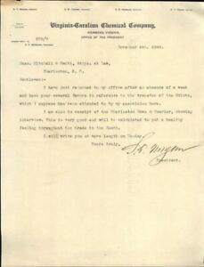 1899 Charleston South Carolina (SC) Letter Virginia Carolina Chemical Company