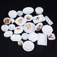33Pcs Dollhouse Miniature Tableware Plastic Plate Dishes Set Mini Food