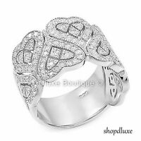 WOMEN'S ROUND CUT CZ .925 STERLING SILVER HEART WIDE BAND FASHION RING SIZE 5-11