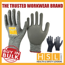 PU ANTI CUT RESISTANT WORK SAFETY GLOVES BUILDERS GRIP LEVEL 5