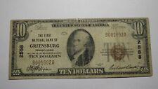 $10 1929 Greensburg Pennsylvania PA National Currency Bank Note Bill #2558 RARE