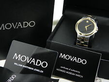 AUTHENTIC Men's Two Tone Movado Watch 81 E7 1890 Museum Dail Stainless Steel Ban