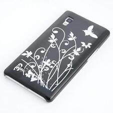 LG Optimus L9 P760 custodia protettiva farfalla nero case cover