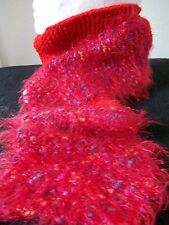 Hand knitted fuzzy red scarf