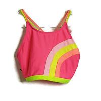 Cat & Jack Girls Bikini Swimsuit Size XL High Neck & Bottom Pink Yellow Orange