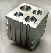 "Solid Steel Dapping 2 in 1 Block Half Sphere and Cylinder 2"" Square Jewellery"