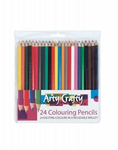 24 Assorted Coloured Pencils Strong Leads Pencil Crayons in Wallet