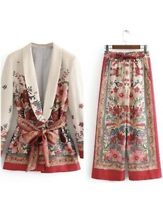 Women Blazer Suit Jacket Vintage Wide Pants Office Casual Suit Christmas NewYear