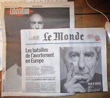 """Spécial Philip ROTH """"Libération et Le Monde"""" du 24 mai 2018"""