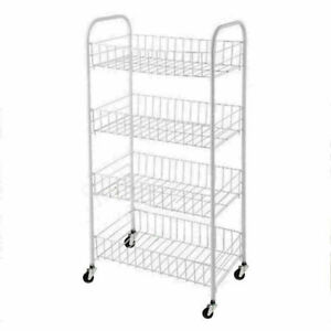 New 4 Tier Fruit Trolley Basket Rack Kitchen Storage Vegetable cart With Wheels