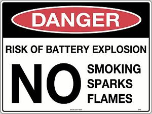 Danger Risk Of Battery Explosion NO Smoking Sparks Sign 300x225mm Metal