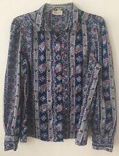 Women's Vintage Levi Strauss & Co Floral Polyester Button Blouse Shirt Blue Sz L