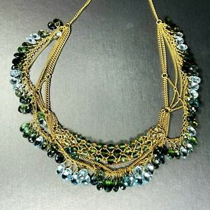 18K Yellow Gold Aquamarine Green Tourmaline Briolette Fringe Choker Necklace