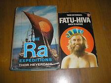 LOT OF 2 THOR HEYERDAHL BOOKS-RA EXPEDITIONS & FATU-HIVA